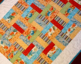 "Baby quilt Floral quilt Modern quilt bright colors floral throw baby toddler quilt blanket 35"" x 45""."