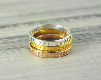Roman numerals ring , Stamped ring, Custom Coordinates Ring, Latitude Longitude Ring, Personalized ring, Location Ring , silver ring