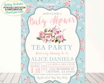 Tea Party Baby Shower Invitation Vintage Tea Party Baby Shower Invitation A Baby Is Brewing Shower Shabby Chic Rose Tea Party Baby Shower