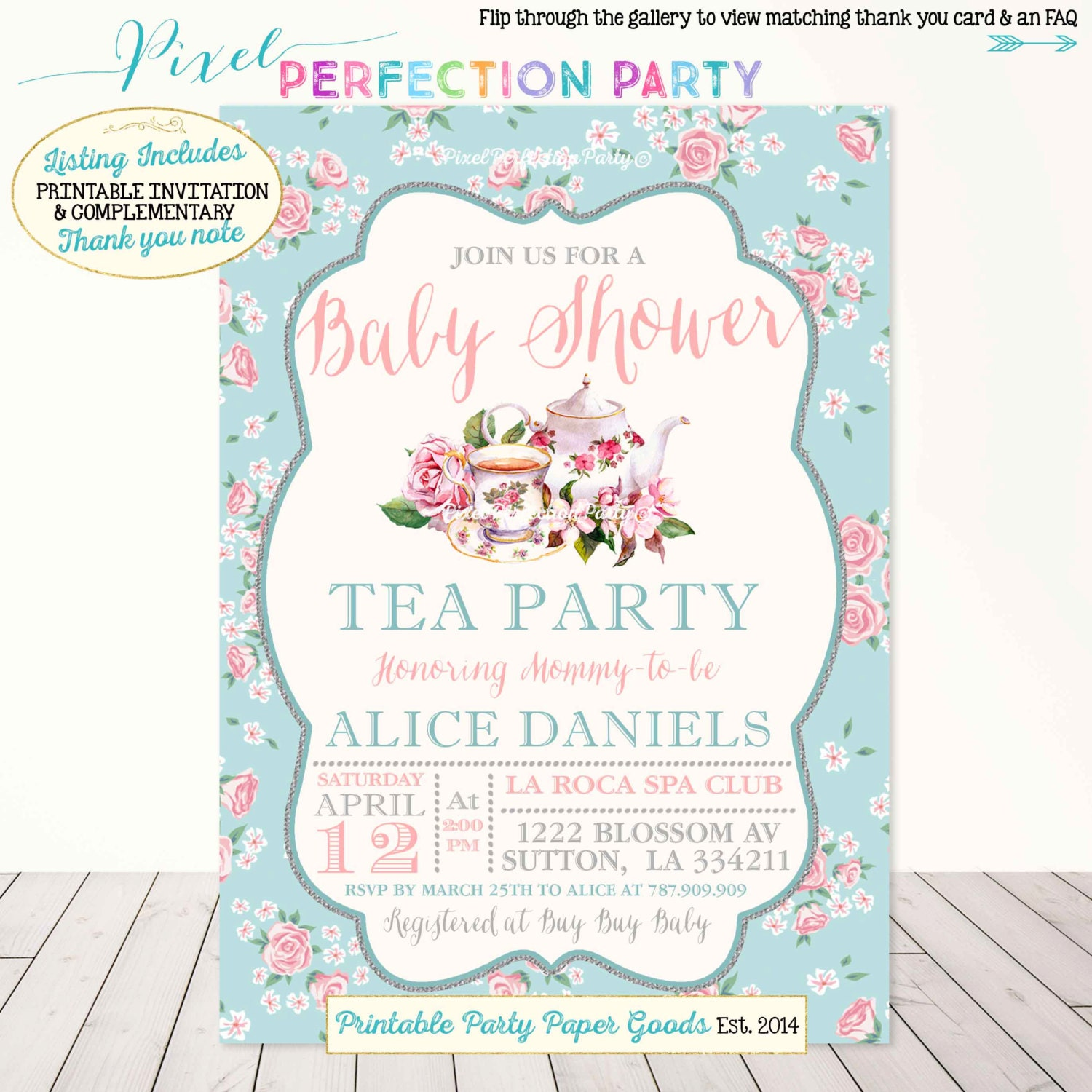 Tea Party Baby Shower Invitation Vintage Tea Party Baby Shower