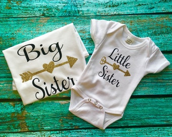 Sibiling shirts, Big Sister, Little Sister set, shirt and body suit with gold arrows set