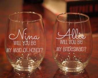 3 Will You Be My Maid Of Honor, Bridesmaid Proposal, Will You Be My Bridesmaid Wine Glass, Bridal Party Wine Glass, Set of 3