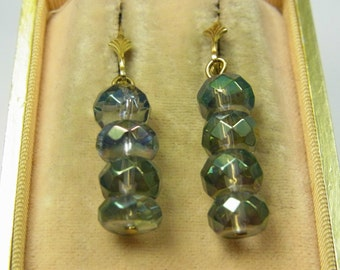 Stunning Vintage Silver Gold Vermeil French Sleepers Fluorite Crystal Earrings.