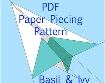 "Origami Plane. Paper piecing pattern 6"" x 6"""