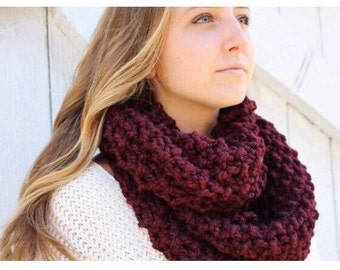 Warm and Cozy Hand Knit Infinity Scarf | Merlot