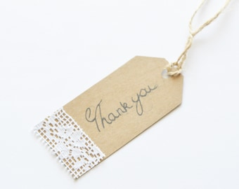 10 Thank You Gift Tags, Wedding Tags, Luggage Tags, Labels, Present Wrapping, Baby Shower, Gifts, Rustic Kraft Tags, Favours