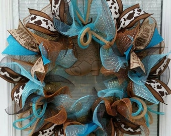 SALE Cowboy Wreath, Rodeo Wreath, Country Wreath, Deco Mesh Wreath, Mesh Wreath, Rustic Wreath, Ribbon Wreath, Boot, Hat, Horseshoe, Texas