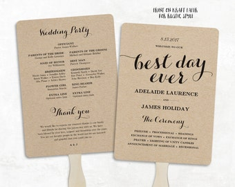 Fan wedding program etsy printable wedding program template fan wedding program diy kraft wedding programs editable text pronofoot35fo Image collections