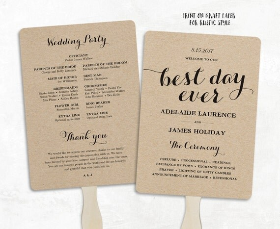 Printable Wedding Program Template Fan Wedding Program DIY