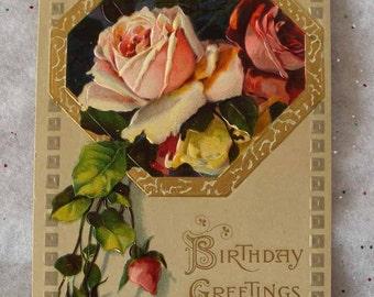 Unused Vintage Birthday Postcard with Embossed Pink and Maroon Roses Birthday Greetings Printed in Germany Series 977 ~ 6658