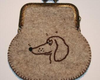 Dachshund purse with metal frame