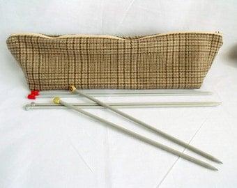 "knitting needle bag, knitting needle organizer, large zipped tweed bag, zipped pouch, 17"" long"