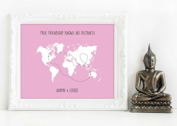 Across the miles personalised map long distance love gift like this item gumiabroncs Image collections