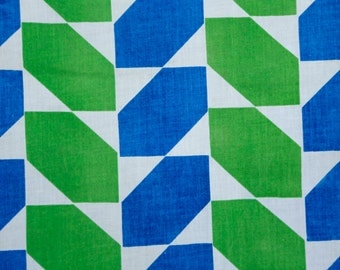 Kelly Green and royal blue vintage geometric shapes patterned curtains (2) lightweight cotton