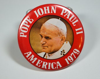 Vintage Papal Pin Pope John Paul II America 1979 Papal Visit Souvenir Keepsake Pin Badge Papal Keepsake
