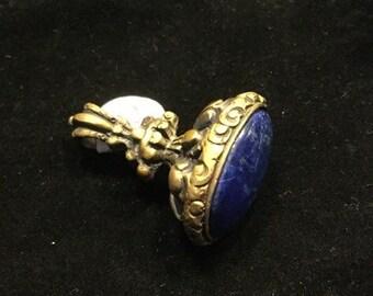 Custom Bronze Lapis Fob Pendant