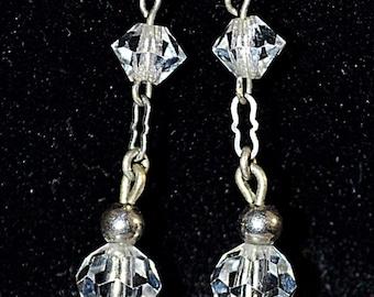 Vintage Elegant 1940s Art Deco Faceted Clear Crystal Long Dangling Earrings Silver Metal Pierced
