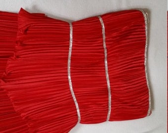 VINTAGE Fortuny Pleated Crimson Red Silk Strapless Long Gown with Rows of Rhinestones