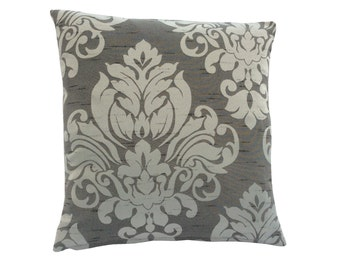 Stunning hand made cushion cover, made from shades of grey Damask fabric
