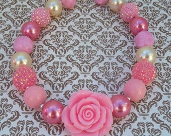 Baby Girl's Favorite Chunky necklace Bubblegam beads jewelry Resin flower charm necklace gift Birthday/Party Cute jewelry