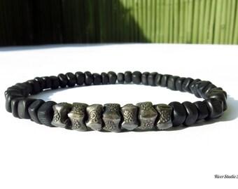Black Horn Nuggets Oxidized Hill Tribe Silver Beads Bracelet / Men Bracelet