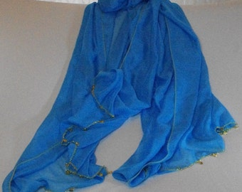 Extra long blue dance scarf