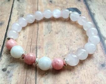 Fertility Bracelet. Moonstone, Rose Quartz, Rhodochrosite Bracelet. Gemstone Bracelet. Pregnancy Bracelet. Tree of Life.
