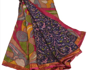 KK Pure Silk Saree Pink Printed Sari Craft Cultural Fabric