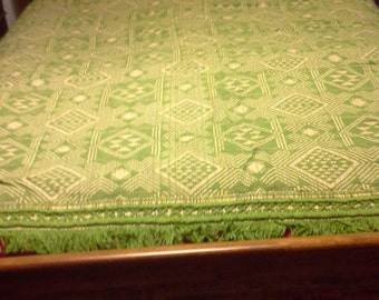Never-used vintage Morgan Jones geometric pattern bedspread