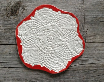 Red and White Lace Trivet