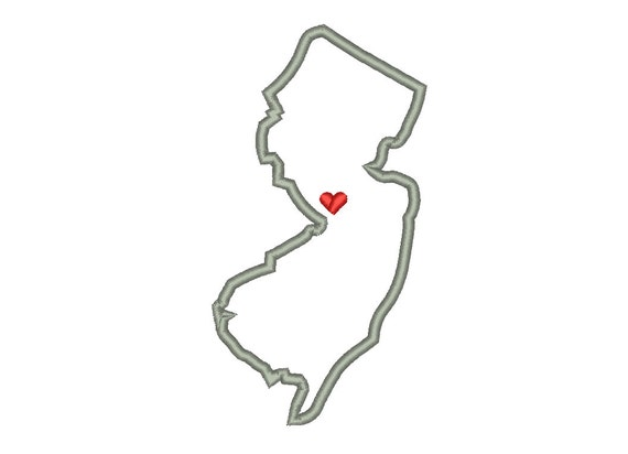 New Jersey State Outline Appliqu Designs Machine Applique