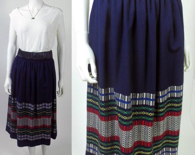 70s vintage peasant hand woven border dirndl midi folk wool skirt