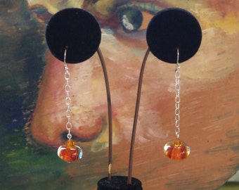 Dangle and Drop Sterling Silver Earrings with Boro Lampwork Crystal Beads and Swarovskis Crystals