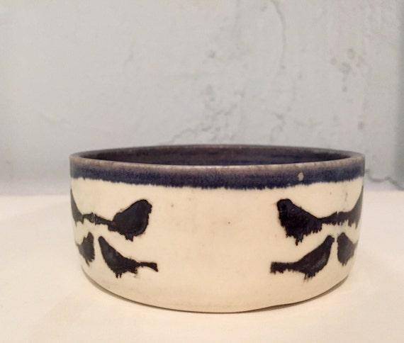 Ceramic multipurpose bowl/dish - bird design - blue and white - half price!