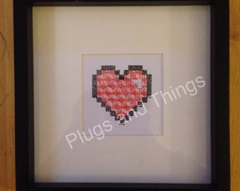 8-bit dot work colour heart in geometric cube infill *hand drawn, unique, made to order*