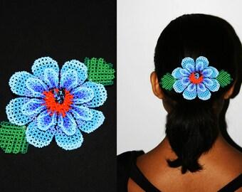Tribal Hair Fashion - Lush Large Blue Flower Barrette, Huichol Jewelry, Native American Hair Clip, Flower Hair Clips, Ethnic Hair Accessory