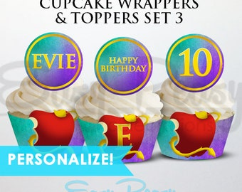 Personalized - Descendants Cupcake Wrappers & Toppers Set 3