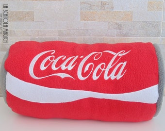 Drink Pillow - Coca cola red can pillow in Polyester Fleece - Food and Drink pillow handmade