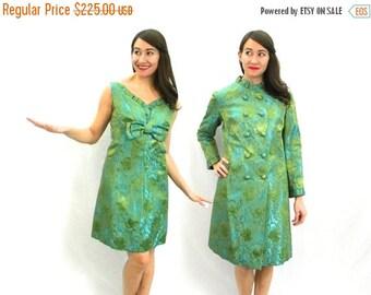 Summer SALE 60s Green Brocade Party Dress & Coat | V-Neck Sleeveless Dress Coat Set |  Medium