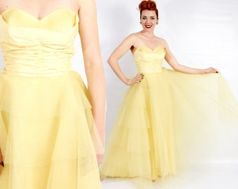 50s Yellow Tulle Evening Dress | Yellow Long Prom Dress | Extra Small