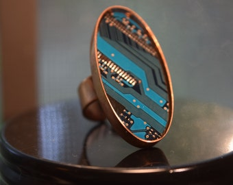 Copper and Cerulean Hard drive Ring