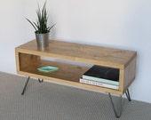 Emily Reclaimed Wood TV Stand  TV Cabinet  Hairpin Legs  Light Oak Finish  Living Room  Side Table