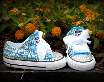 Vivid Blue Bling Converse Shoes, Bling shoes, Custom converse, Rhinestone shoes, Birthday shoes, Toddler Shoes, Baby Bling Shoes, Converse
