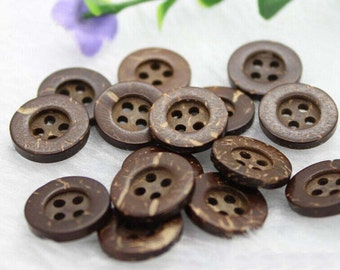 30 Round Rustic Brown Natural Miniature 2 Hole Coconut Buttons,12.5mm,M33