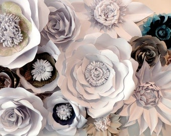 Paper Flowers, Set of 22, Specialty Paper, Custom Made Flower Wall, Photo Backdrop