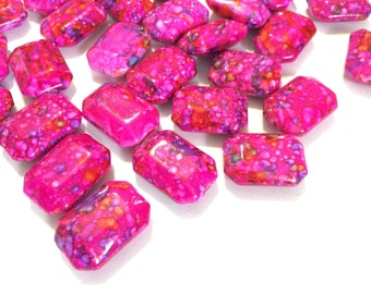 Painted DARK PINK Beads - Octogon 24x16mm Large faceted acrylic nugget beads for bangle or jewelry making