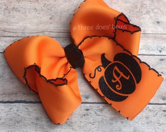Halloween Bow - Halloween Hair Bow - Halloween Hairbow - Pumpkin Hairbow - Orange and Black Bow - Pumpkin Bow - Orange and Black Hair Bow