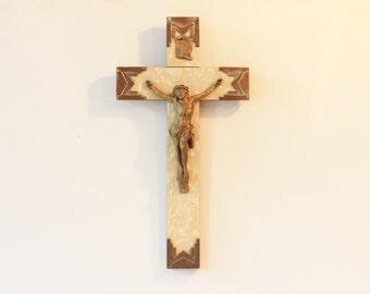 Vintage French Religious crucifix, Jesus , wooden ,religious decor