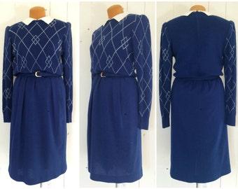 Vintage 70s Neiman Marcus Knit Sweater Shirtwaist Dress / Blue & White Argyle / Wool Blend / Made in Hong Kong / Women's Size Small