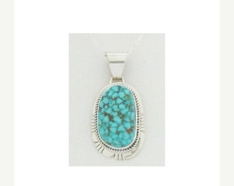 """Navajo Kingman Turquoise Necklace 18"""" Sterling Silver 18 Signed Free Shipping Made in the USA"""